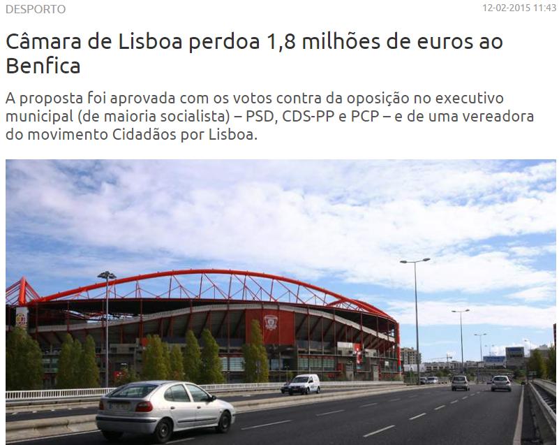Perdão de 1,8 Milhões ao SL Benfica? Eis as prova do contrário. Onde está a comunicação social?