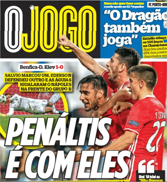 """Será que o Jornal """"OJogo"""" vai fazer capa do penalti contra o porto?"""