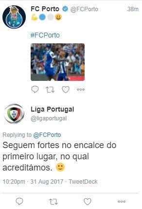 Fonte oficial do FC Porto tenta lançar cortina de fumo sobre o tweet polémico da liga de clubes
