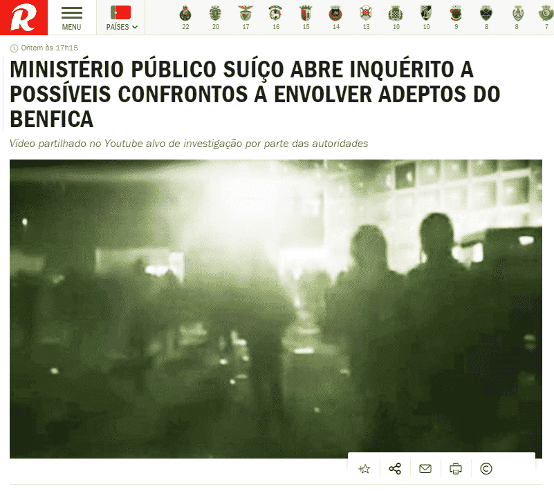 Record faz notícia video manipulado sobre supostos confrontos entre adeptos do Benfica na Suiça